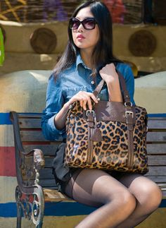 Fashion Ladies Leopard print Genuine Leather Handbags/Totes bags OUOVO LT202824