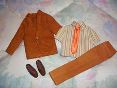 1973 (- 1975) Mod Ken Get-ups N Go Fashions (GUAG / GUNG) - Suited for Business Suit 7838 (Brown / Tan Striped Shirt with Orange Tie) - Barbie Doll - Mattel | eBay