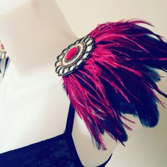 Black and maroon feather epaulettes, ostrich feathers, feather epaulettes, embellished shoulder pieces, clip on epaulettes, party clothing by feathersandthreaduk on Etsy