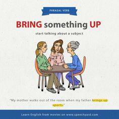 Phrasal verb 'bring something up'.