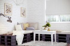Excellent White Brick Veneer 39 White Brick Veneer Toronto Brick Interior Wall Design inspirations about home decor and home furniture ideas. Pallet Couch Cushions, Pallet Sofa, Diy Pallet Furniture, Furniture Ideas, Lawn Furniture, White Cushions, Whitewash Furniture, Sofa Ideas, Outdoor Furniture