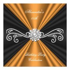 Elegant Gold Rust Black Diamond Birthday Party 2 Personalized Invitations by Zizzago.com