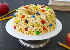 Sticky Popcorn Cake with M&M's.  Perfect for the kiddos outdoor movie night!