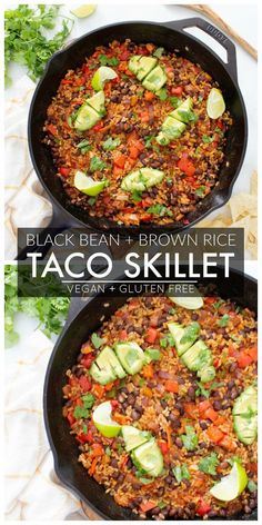 This Black Bean Brown Rice Vegan Taco Skillet is a super easy dinner or make ahe. This Black Bean Brown Rice Vegan Taco Skillet is a super easy dinner or make ahead lunch – serve Vegan Dinner Recipes, Vegan Dinners, Mexican Food Recipes, Whole Food Recipes, Vegetarian Recipes, Cooking Recipes, Vegan Brown Rice Recipes, Vegan Vegetarian, Vegan Bean Recipes