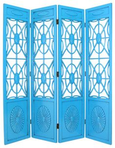 Wayborn Spider Web Room Divider in Teal transitional-screens-and-wall-dividers