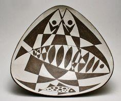 "Thomas Toft Danish Studio Pottery Fish Bowl at 12"" Across Mid Century Art Ceramics on Etsy, $325.00"
