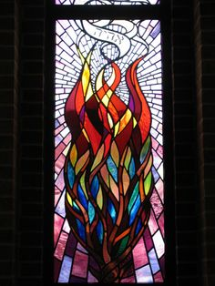 This window depicts the third person of the trinity, the Holy Spirit, in the form of a dove Stained Glass Angel, Stained Glass Windows, Leaded Glass, Jewish Art, Religious Art, Jesse Tree Symbols, Glass Castle, Burning Bush, Stained Glass Projects