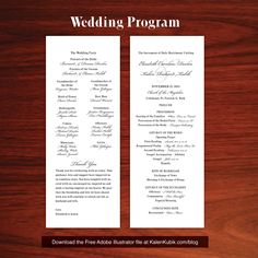 Free DIY Catholic Wedding Program AI Template. I'm a professional graphic designer and I made my wife a bunch of custom stuff. Well, you can have it. You can download all of my live wedding files at http://www.kalenkubik.com/blog/free-wedding-program-template-and-more/  My blog post also provides tips on cutting costs during printing.