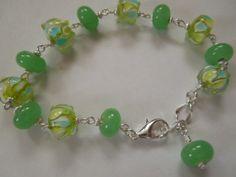 Green Lampwork Glass Bead Bracelet Handmade by CapricesCreations, $12.00