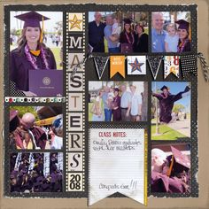 Contend scrapbook page layout. I love the number of photos on this single page LO School Scrapbook Layouts, Album Scrapbook, Scrapbooking Layouts, Scrapbook Paper, Scrapbook Borders, Masters Degree Graduation, Graduation Scrapbook, Graduation Album, Scrapbooking Digital