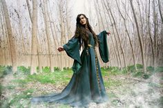 Celtic princess green wool costume Medieval dress by CostureroReal