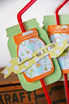 TUTORIAL: Learn how to make these Mason Jars Party Favors by Jenny Chesnick. (Using Dear Lizzy Neapolitan from American Crafts.)     http://americancrafts.typepad.com/studio/2012/03/mason-jars-party-favor-tutorial-by-jenny-chesnick.html