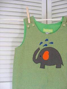 Green Gingham Romper with Elephant Applique by roomtoromp on Etsy, $35.00