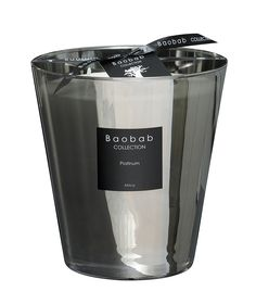 Baobab Platinum Max 16 Scented Candle: Platinum Max 16 is a 1.2 kg. hand poured, scented candle of the highest quality with an average burning time of 150 hours.  -Hand made perfumed candles have been lovingly made in Belgium -The platinum mirrored glass creates unusual reflections and wonderful light images while the candle flame remains visible from the outside.  -The Platinum Series is limited -Packaged in a luxury black box