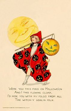 Halloween--A Poem--John Martin's Magazine--Vintage Halloween Illustration Retro Halloween, Fröhliches Halloween, Vintage Halloween Images, Halloween Prints, Vintage Holiday, Halloween Outfits, Holidays Halloween, Halloween Costumes, Halloween Sayings