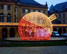 Christmas Outdoor Decorative Large Light Ball Outdoor Christmas Light Displays, Christmas Lights, Unusual Buildings, Ball Lights, Amazing Architecture, Holiday Ornaments, Light Decorations, Outdoor Lighting, Color Splash