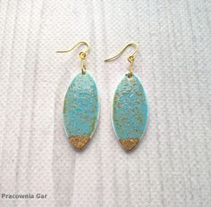 ceramic earrings , handmade , turquois , gold,