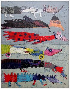 - Photo de New Art 2015 - Elke Trittel Art Art Amour, Art Du Collage, Art Fantaisiste, Creation Art, Small Canvas Art, Naive Art, Outsider Art, Whimsical Art, Surreal Art