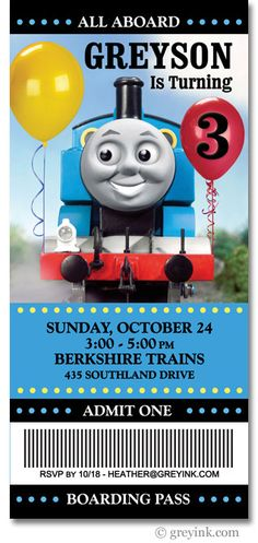 Thomas the Train Invite by greyink on Etsy, $18.00