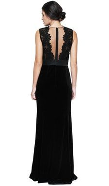 Metallic Bodice Velvet Dress - Theia Couture - Back