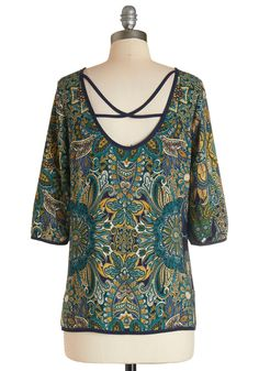 Merry Music Making Top. After sliding your guitar strap over this colorful paisley top, you give your drummer a nod, wait for the count off, and let your fingers fly! #multi #modcloth