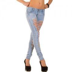 Skinny dames jeans met sexy scheuren blauw