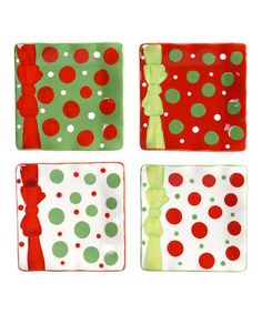 Take a look at this Christmas Cheer 6'' Canapé Plate Set by Certified International on #zulily today! $15 !!