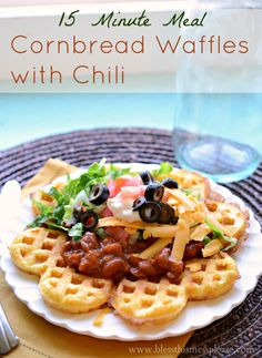 Quick & easy cornbread waffles with chili! Forget your oven, this savory waffles dinner is done in 15 minutes. A fast and filling familer dinner idea! Cornbread Waffles, Savory Waffles, 15 Minute Dinners, Waffle Iron Recipes, Breakfast For Dinner, Dinner Meal, Breakfast Ideas, Crockpot, Sandwiches