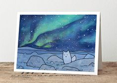 Arctic Fox & Northern Lights Christmas Card