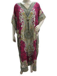 Kaftan ,House Dresses, Patio Wear, Ethnic Pink Tribal Print Caftan Kaftans for Womens: Clothing  $24.99