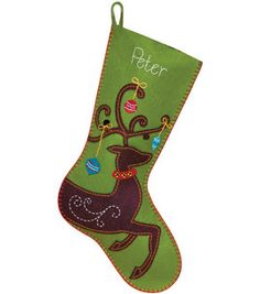 Reindeer Stocking Felt Applique - I love the style, blanket stitch around outside, colors, etc.