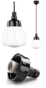 Funkis ampel - lampe med sort bakelit fatning og lukket glas kuppel #tibberuphoekeren