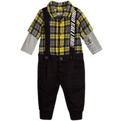 John Galliano - Baby Boys Check Shirt & Trousers Rompersuit |