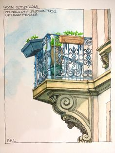 #archlinh #urbansketching #balconies #watercolors