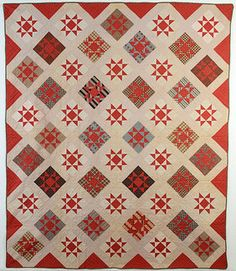 Variable Stars Quilt: Circa 1880: New York State.  The light background and and sashing makes the stars look like they are floating.