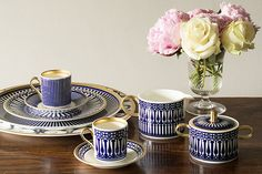 Looking for quintessentially English style? Meet the treasure trove that is new online shop English Abode. Gold Milk, Dining Ware, Gold Cup, Blue And White China, China Sets, English Style, Espresso Cups, Milk Jug, Tea Cup Saucer