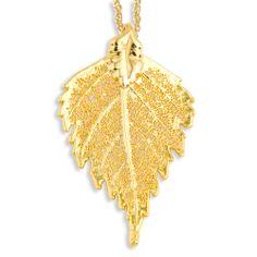 24k Gold Dipped Birch Leaf w/ Gold-tone Chain