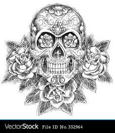 skull and roses tattoos | Sketchy skull with roses vector 332964 - by krookedeye