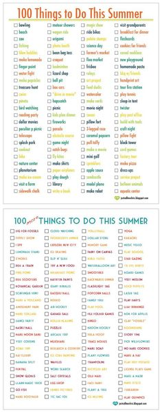 100 Things To Do This Summer 100 More Things To Do This Summer. - Photography Books - Ideas of Photography Books - 100 Things To Do This Summer 100 More Things To Do This Summer. Great Ideas Create Your Own List. What To Do When Bored, Things To Do When Bored For Teens, 100 Things To Do, Summer Things, Fun Things, Summer Feeling, Girl Things, Things To Do With Your Boyfriend, Summer Kids