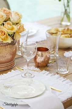 Early Fall Home Tour - Table set for dinner using copper items from my collection - Shabbyfufu.