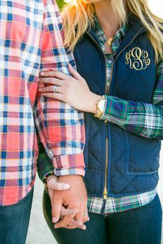 Preppy rustic winter styled anniversary engagement shoot with monograms, s'mores and hot cocoa.