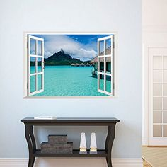 Sea View Wall Decal Sticker Fake Window View Wall Art Mural Decor Home Decoration Wall Applique Poster Scenery Wallpaper Large Wall Decals, Custom Wall Decals, Wall Stickers Home Decor, Wall Stickers Murals, Vinyl Wall Art, 3d Wall, Sticker Mural, Window Decals, Window Wall