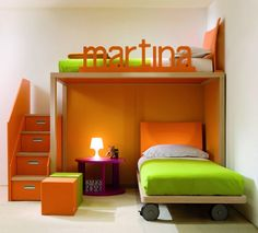 super cool bunk beds. bottom one on large castors, stairs w storage up to top. orange, green, white, birch. Italian childrens bedroom furniture manufacturer Dearkids has design 2010 Collection of Contemporary Childrens Bedrooms. this bedroom very stylish and comfortable.