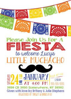 little muchacho primary color fiesta baby shower red blue orange boy papel picado mexican nino summer diaper and wipe sprinkle invitation