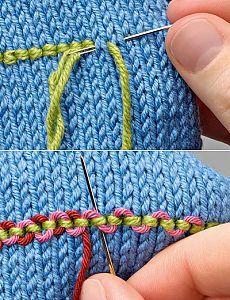 Вышивка полос на трикотаже.