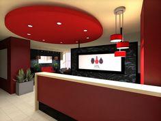 Reception desk design at STIL Salon and Spa in Gold Coast, Chicago. The striking color scheme is vibrant and inviting! #salondesign #interiordesign #architecture #receptiondesk #receptiondeskdesign