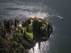 Lake Como's Villa del Balbianello, famous for its elaborate terraced gardens, is located on the tip of a small wooded promontory on the western shore. It was built in 1787 on the site of a Franciscan monastery. Photo by: Yann Arthus-Bertrand.