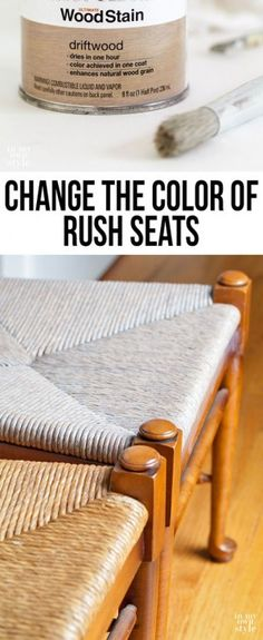 Chair makeover starting with changing the color of the rush seats on ladder back chairs to look more like a driftwood color. Once it is dry and sealed, I will paint the wood part of the chairs. Paint Furniture, Furniture Projects, Furniture Making, Furniture Refinishing, Diy Projects, Chair Makeover, Furniture Makeover, Chaise Diy, Ladder Back Chairs
