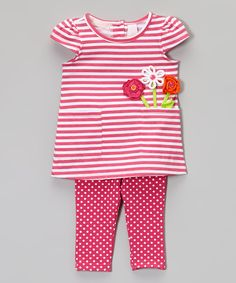 Kids Headquarters Pink Stripe Tunic & Polka Dot Leggings - Infant, Toddler & Girls | zulily