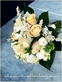 Ivory & Peach Wedding Bouquet by www.bluemountainsfloraldesigns.com ♡